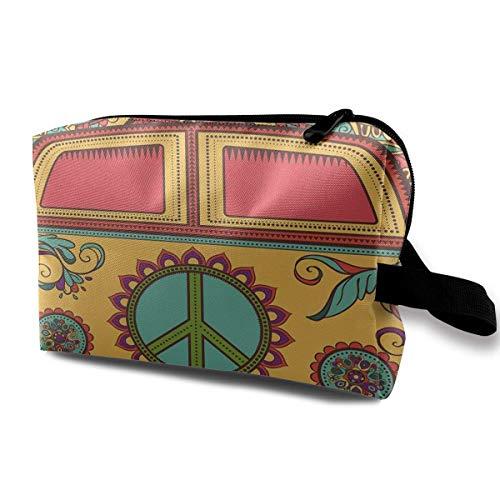 b0c7464ac77d2 Hippie Vintage Mini Van Makeup Organizer Bag Pouch Purse Cosmetic Tote Bag  Carry Case