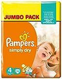 Pampers Simply Dry Pannolini Maxi, Taglia 4 (7-18 kg), 2 Confezioni da 74, 148 Pezzi