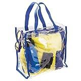 mDesign Reisetasche für Accessoires - Tasche für Strand, Pflegeprodukte oder Kosmetik - Tragetasche transparent/navyblau