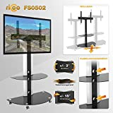 """RICOO TV Stand Wheels Rollable FS0502 Universal LED Curved QLED QE LCD OLED SUHD UHD Television Mount Flexible Swivel Cable Management Base/ 30"""" - 65"""" Inch/VESA 400x400 600x400/White Black"""