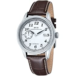 AVi-8 Men's Hawker Hurricane Automatic Watch with White Dial Analogue Display and Brown Leather Strap AV-4017-01