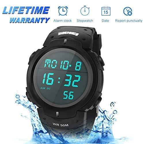 Digitale Sportuhr,Digitale Armbanduhr 50M Wasserdicht Militärische Outdoor Uhr für Männer Wasserdichte LED wasserdicht Uhren elektronische Gegenlicht Sportuhr mit Wecker Stoppuhr Alarm