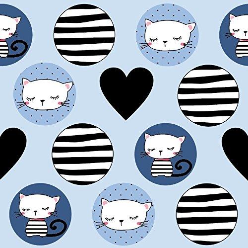 0,5m Jersey Katzen Kreise Herzen hellblau 5% Elasthan 95% Baumwolle Meterware 140cm breit (Katze Jersey)