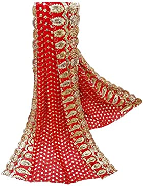 Indio Vendimia Dupatta Georgette Tela Mujeres Bordados Mantón Rojo Tradicional Larga Estola