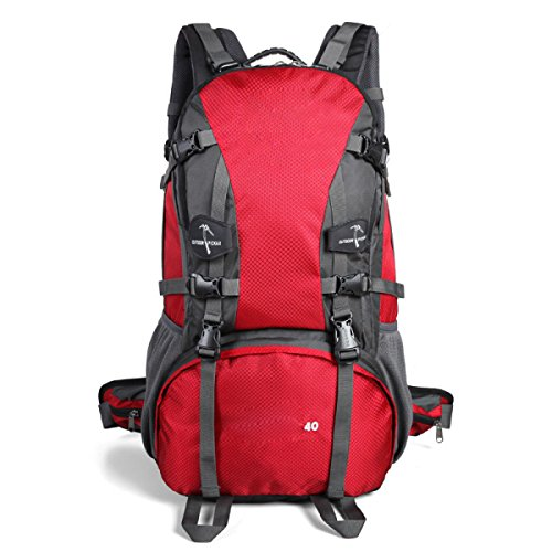 Sporttasche Outdoor Wasserdichte Bergsteigen Rucksack Large Capacity Travel Wandern Klettern Daypack,FruitGreen Red