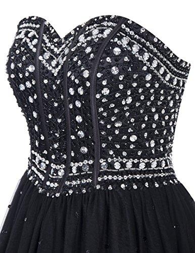 Dresstells, Robe de cérémonie Robe de soirée Robe de bal emperlée bustier en cœur longueur ras du sol Noir