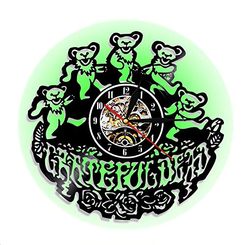 PanliClock 12-Zoll-Uhr, Vinyl Record Quarz Watch, Grateful Bear Band Acryl LED Colorful Night Light Living Room Bedroom Bedroom Wall Decoration (Black) Band Night Light
