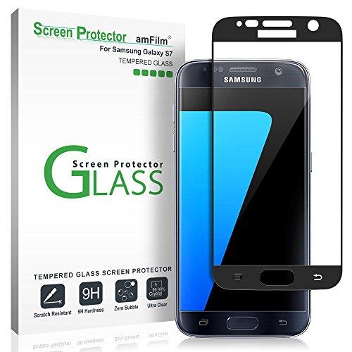 Verre Trempé Galaxy S7, amFilm Couverture Complète Protecteur D'écran pour Samsung Galaxy S7 (Noir)