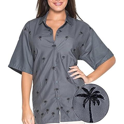 La Leela morbido rayon signore breve manicotto 4 in 1 Aloha Hawaii tema del partito annata soggiorno beachwear feste boho camicia donne camicia hawaiana ricamati grigio top tunica