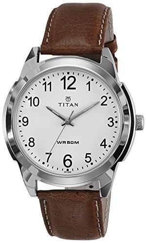 Titan Analog White Dial Men's Watch -1585SL07C