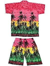 SAITARK Mens Hawaiian Shirt Stag Beach Hawaii Aloha Party Summer Holiday Fancy Palm Shirt and Short Set