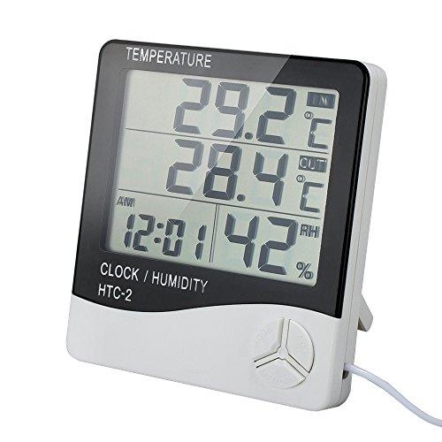 VADIV Digitales Thermo Hygrometer, HTC-2 Luftfeuchtigkeitmessen Thermometer Innen-/Außentemperatur Temperatur Raumluftüberwachtung mit Alarm Wecker Großer LCD-Bildschirm mit Halter 3M Kabel (Trockene Nasenschleimhäute)