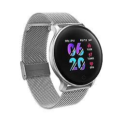moreFit Fitness Armband Uhr, Smartwatch Fitness Tracker mit Pulsmesser Wasserdicht IP68 Fitness Uhr Pulsuhr Schrittzähler Uhr für Damen Herren Anruf SMS SNS Beachten, Silber