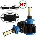 H7 LED bombillas de faros para coche de Kit de conversión 4 lados COB Chips 72W 9600LM Par 6000K blanco frío H7 LED Bombillas