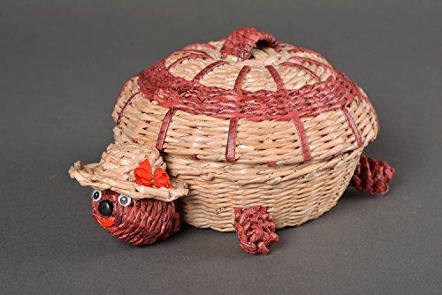 Panier rond fait main Corbeille en papier avec couvercle Deco maison tortue