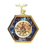 LYN Reloj Sala de Estar Dormitorio Reloj Modelo habitación Reloj casa ágata Azul Piedra patrón Ciervo Dorado (Color : Blue, Size : 19 * 23 * 5CM)