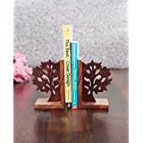 Craftbell Tree Of Life Engraved Bookend In Sheesham Wood - Book Organizer, Book Racks, Table Top, Book End Stand Holder, Bookshelf For Decorative / Office / Desk Accessories / Home Decor And Gift Item / Christmas Gift / New Year Gift / Birthday Gift / Diw
