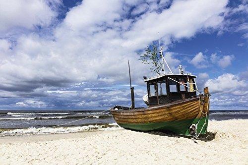 Artland Poster oder Leinwand-Bild fertig aufgespannt auf Keilrahmen mit Motiv Rico Ködder Fischerboot in Ahlbeck auf der Insel Usedom Fahrzeuge Boote & Schiffe Fotografie Blau D0FJ