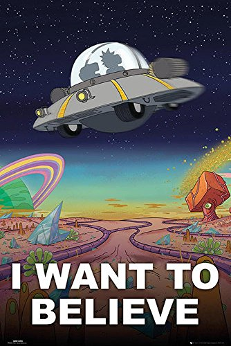 Close Up Póster Rick & Morty - I Want To Believe (61cm x 91,5cm) + 1 póster Sorpresa de Regalo
