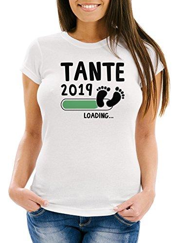 MoonWorks Damen T-Shirt Tante 2019 Loading Geschenk für Werdende Tante Schwangerschaft Geburt Baby Slim Fit Weiß-Schwarz L