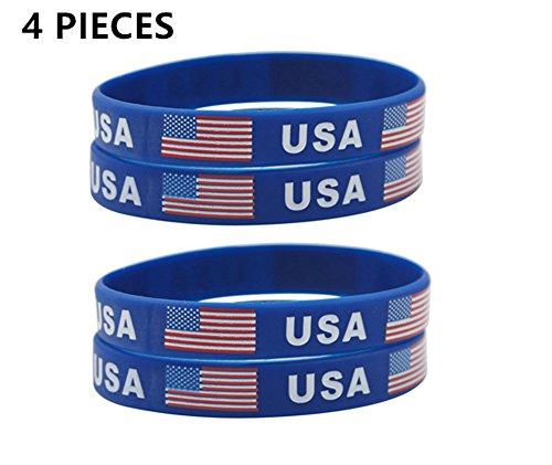 (LiFashion LF 2018 WM Flagge USA Amerikanische Flagge Gummi Armband Sets Inspirational Patriotischen Geist Silikon Armband für Männer Frauen 2018 FIFA World Cup Sports Fans)
