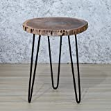 #5: Casa Décor Natural Acacia Wood Live Edge Slab Living Room Side Table And Coffee Table on Steel Hairpin Legs, Custom Made