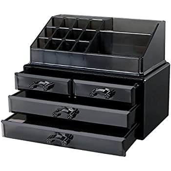 Songmics Black Bathroom Makeup Organiser Acrylic Jewellery Storage Box  Cosmetic with 4 drawers Display Boxes 2