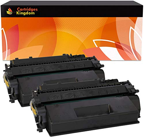 Cartridges Kingdom Pack de 2 Cartuchos de tóner láser compatibles con HP CE505X 05X para HP LaserJet P2050 P2053 P2053D P2053N P2054 P2054D P2054N P2055 P2055D P2055DN P2055X P2056 P2056D P2057 P2057N