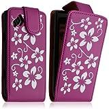 Seluxion - Housse coque étui pour Samsung Wave 2 S8530 motif fleur couleur rose fushia