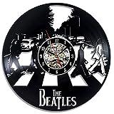 BiuTeFang Wanduhr Schallplatten Vinyl Runde Hohle Beatles Schwarz Leim Rekord Uhr Vinyl Kreative Wand Uhr Retro-Handgemachte Dekoration Wanduhr