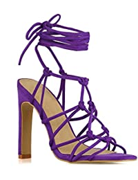 d78c8509c3fa ESSEX GLAM Womens Lace Up Knotted Strappy Sandals Ladies Caged High Heel  Shoes Size 3-