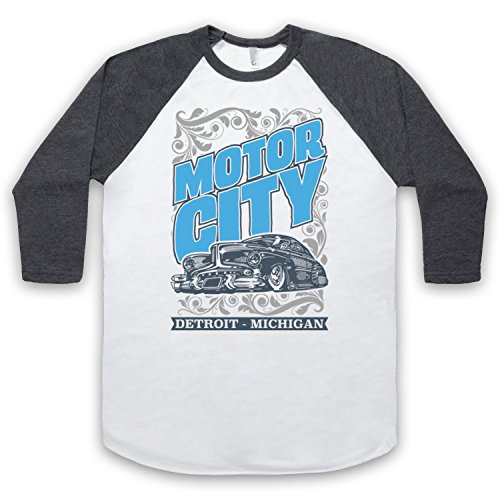 Med Motor (Motor City Detroit Michigan 3/4 Hulse Retro Baseball T-Shirt, Weis & Dunkelgrau, Medium)