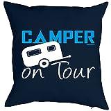 Kissenbezug Camper on Tour Camping Artikel für den Wohnwagen Caravan für Camper Camping