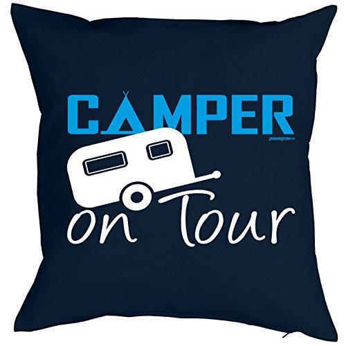 Camping Artikel Kissen mit Füllung Camper on Tour für den Wohnwagen Caravan für Camper Camping