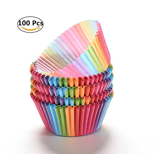 100pcs bigné, Woopower Rainbow color Paper–Porta torta cupcake box cap- grease-proof cake Liners muffin tazze per casa party/caffetteria