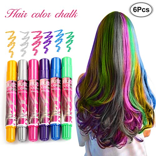 Haarkreide, Metallische Glitter Temporäre Haarkreide, 6pcs Karneval, Halloween, Partys, Temporary Hair Color, Haarentfärber, ungiftig, auswaschbar, temporäre Haarfarbe, Haar Colorationen Tönungen