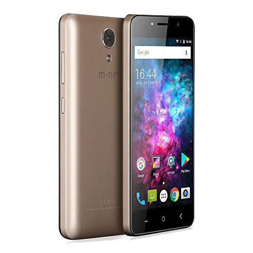 m-net Power 1 3g Telefoni Cellulari con 5050mAh, OTG, Android 7.0, Dual SIM, 5.0 Pollici HD IPS, Quad Core MTK6580, RAM 1GB + 8GB ROM,5MP, Doppio Flash, Smartphone Per Bluetoth, GPS, WIFI-D'oro