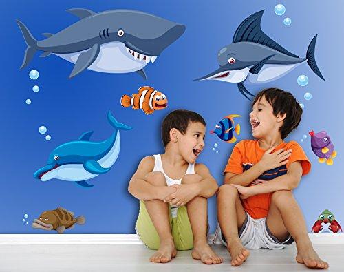 Sticker für Wand – Wandtatoos für Kinderzimmer, Wohnzimmer, Schlafzimmer, Babyzimmer - Wanddeko Modern – 1 X 70x50cm Wandsticker Deko Set Folien Aquarium Fisch