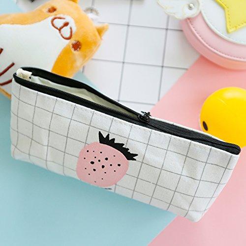 LUFA Sacchetto della matita del sacchetto della penna di immagazzinamento della borsa della moneta della carta del raccoglitore della tela di canapa della zucca di stampa di frutta per le studentesse  fragola