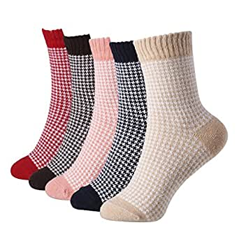 5 Pairs Winter Warm Cotton Ladies Women Socks Knitting Pure Vintage Floor Sock Bed Socks  One Size (01PATTERN5)