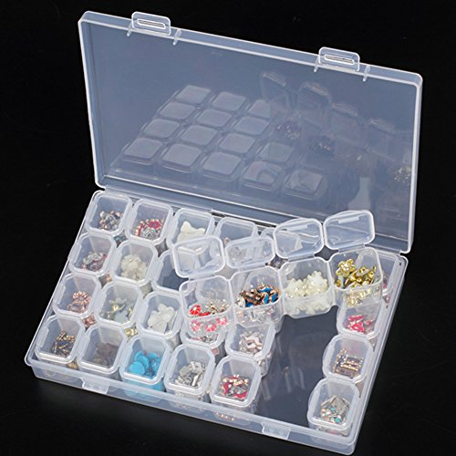 Removable Clear Plastic Organiser, 28-Grid Nail Art Art Jewelry Accessories Storage Box, Rhinestone Jewelry Diamonds Earrings Beads Necklace Storage Box Display Case, Cross-Stitch Diamond Painting Accessory Organizer (Transparent)