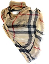 Long Preppy Style Checkerboard Plaid Print Soft Light Cotton Scarf