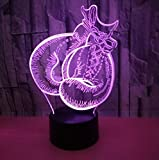 Lampada Illusion Led 3D Night Light 7 Colori Lampeggianti Sensore Di Tocco Usb Illusion Lamp Camera Da Letto Guantoni Da Boxe Modello Lampada Da Tavolo