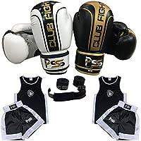 Uniforme de boxe pour enfant Lot de 3Pièces Uniforme Age 3–14ans Gants de boxe sans 6-oz Enveloppe couleur blanc/noir 1006