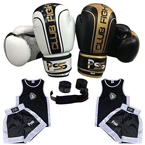 Kinder Boxen Uniform Set von 3Stück Uniform Alter 3-14Jahren Handschuhe 4-oz frei Boxbandagen Farbe Weiß/Schwarz 1006, 1006-White-CF-4OZ -