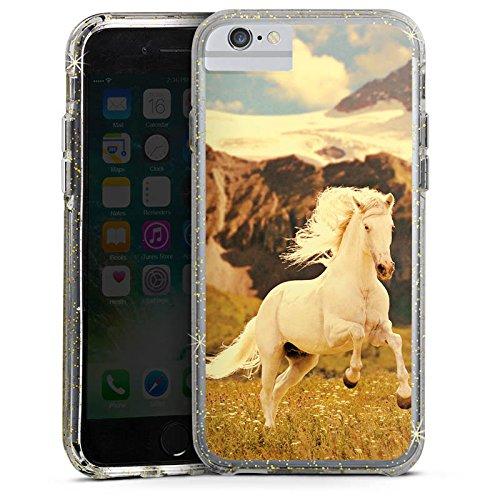 Apple iPhone 6s Plus Bumper Hülle Bumper Case Glitzer Hülle Weisses Pferd Hengst Mustang Stute Bumper Case Glitzer gold