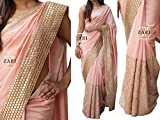 CmDeal Peach Color Naylon & Grorgette Embroidered Party Wear Saree with Blouse Piece-5334SEKT-3066