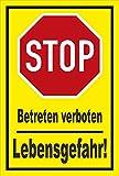 Schild - Stop - Halt - Betreten verboten - Lebensgefahr – 15x10cm mit Bohrlöchern   stabile 3mm starke PVC Hartschaumplatte – S00357-015-C +++ in 20 Varianten erhältlich
