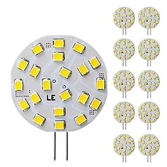 LE 3W G4 Lot de 10 Ampoule LED, 40W Ampoule Halogène Équivalent, 12 V AC/DC, 280lm, 120° Larges Faisceaux, Blanc Chaud, 3000K, Ampoule LED G4, Culot GU4