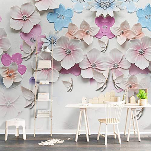 Yddlie Anpassen 3D Wallpaper Stereo Relief Pfirsichblüte Blumen Wandbild Wohnzimmer TV Sofa Hintergrund Wanddekor Tapeten Tapete Floral,450X300CM Floral Relief